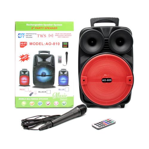 Портативная колонка AO-809 с микрофоном + пульт ДУ красно-черный BT TWS