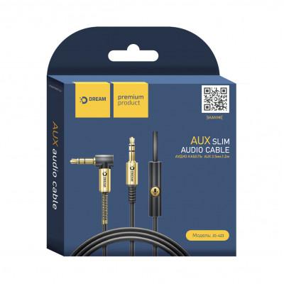 Кабель AUX JD423 1.2М (MIC, Call button) золотисто-черный DREAM