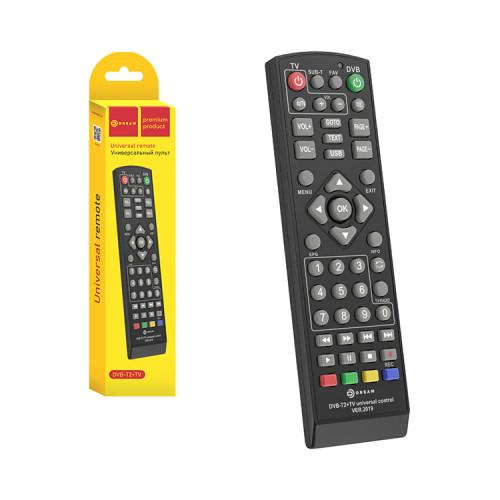 Пульт универсальный DVB-T2+TV (для TV приставок) черный DREAM