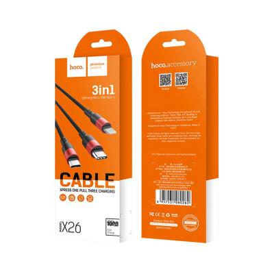 Кабель 3в1 X26 Lightning+Type-C+Micro USB черно-красный HOCO