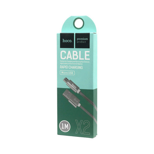 (К) Кабель Micro USB X2 серый HOCO