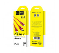Кабель 3в1 X26 Lightning+Type-C+Micro USB красный HOCO
