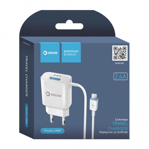 СЗУ USB SM05 Lightning 2.4A 1М белый DREAM