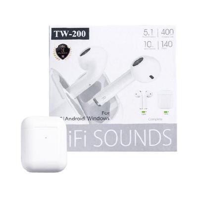 Беспроводные наушники сенс, TW-200 5.1 белый TWS