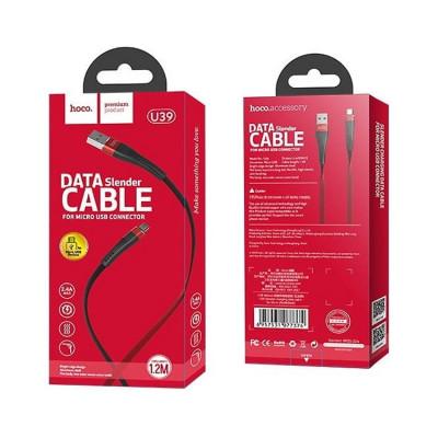 Кабель Micro USB U39 2.4A 1.2M черно-красный HOCO