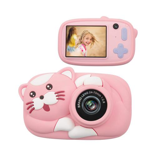 Детский фотоаппарат + чехол котик D8 розовый