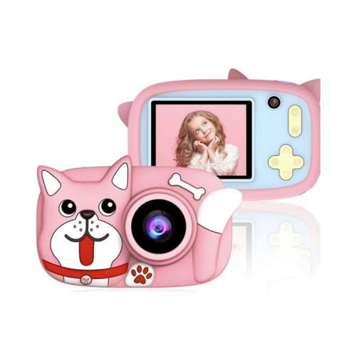 Детский фотоаппарат + чехол пёсик D8 розовый