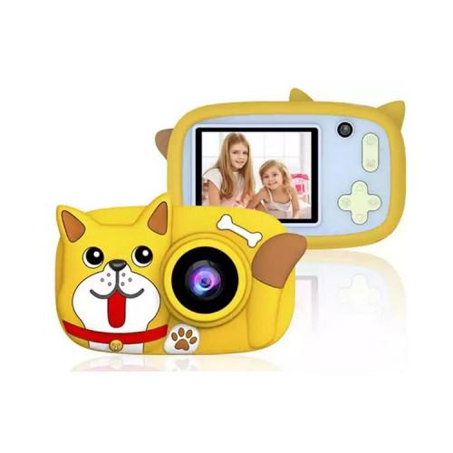 Детский фотоаппарат + чехол пёсик D8 горчичный
