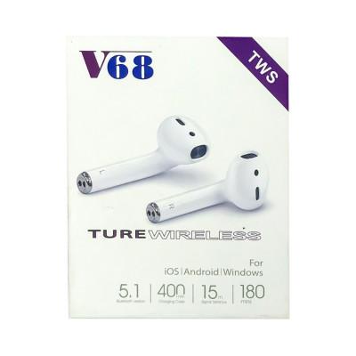 Беспроводные наушники сенс. V68 5.1 белый TWS