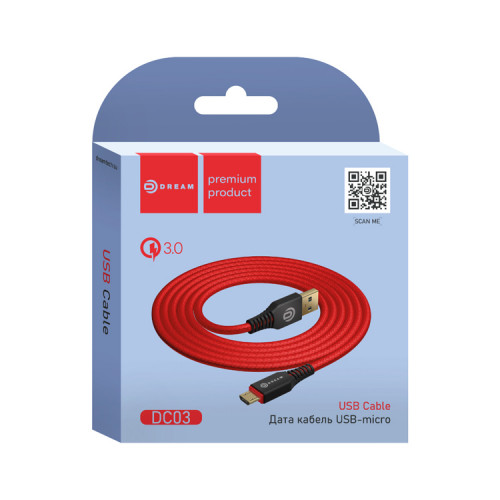 Кабель Micro USB DC03 QC3.0 1M красный DREAM