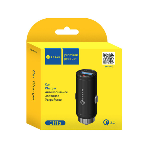 АЗУ USB CH15 QC3.0 черный DREAM