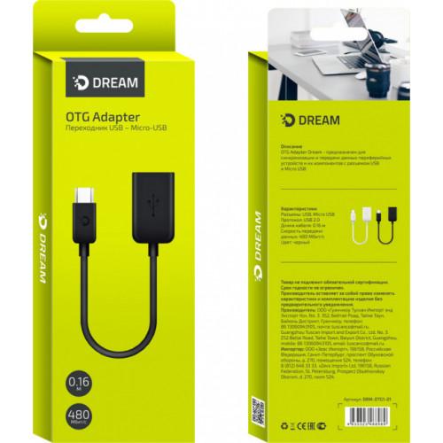 Адаптер OTG DRM-OTG1 USB - Micro USB черный DREAM