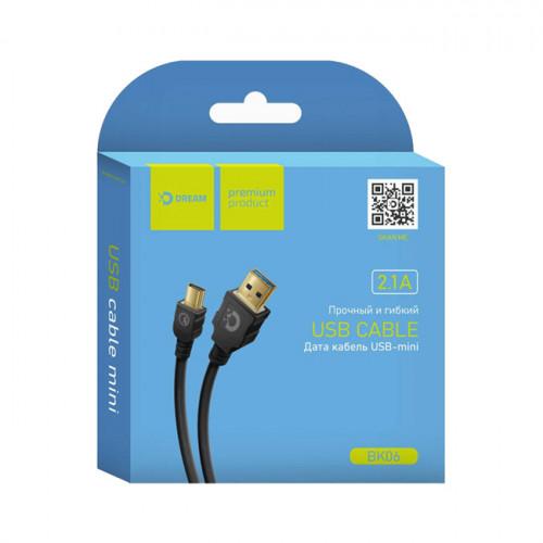 Кабель Mini USB BK06 2.1A 1M черный DREAM
