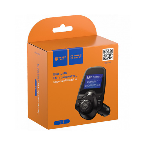 FM-трансмиттер BLUETOOTH T11 (SDHC, 2USB, AUX, HF, LED) черный DREAM