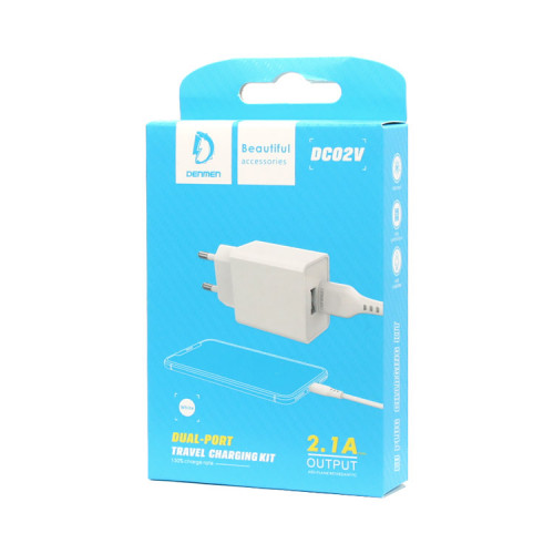 СЗУ 1USB DC02V 2.4A + кабель Micro USB белый DENMEN