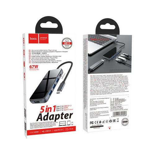 Хаб HB15 5в1 (Type-C на USB3.0*3+HDMI+PD) темно-серый HOCO