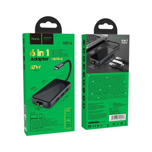 Хаб HB16 6в1 (Type-C на USB3.0*3+HDMI+PD+RJ45) темно-серый HOCO