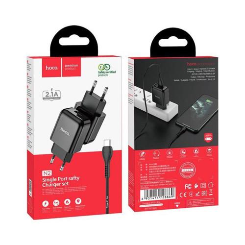 СЗУ 1USB N2 2.1A + кабель Type-C черный HOCO
