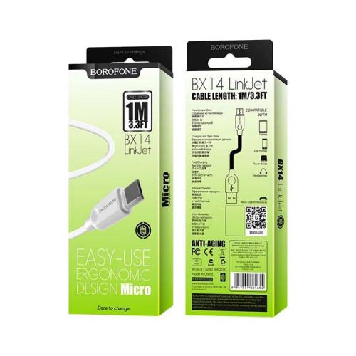 Кабель Micro USB BX14 2.4A белый BOROFONE