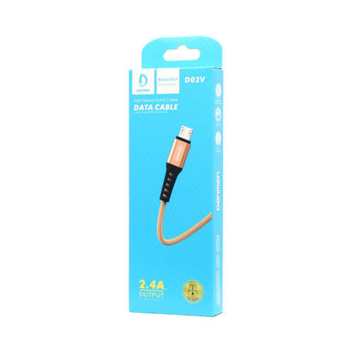 Кабель Micro USB D02V 2.4A золотой DENMEN