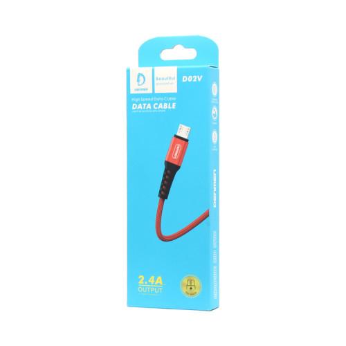Кабель Micro USB D02V 2.4A красный DENMEN