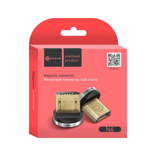 Коннектор Micro USB N6 (для магнитного кабеля) серебро DREAM