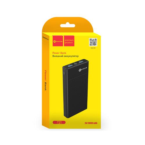 Внешний аккумулятор T21 10000mAh 2USB 2A (MicroUSB) черный DREAM