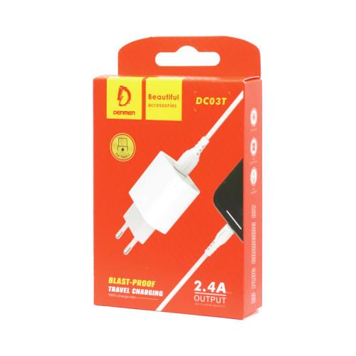 СЗУ 1USB DC03T 2.4A + кабель Type-C белый DENMEN