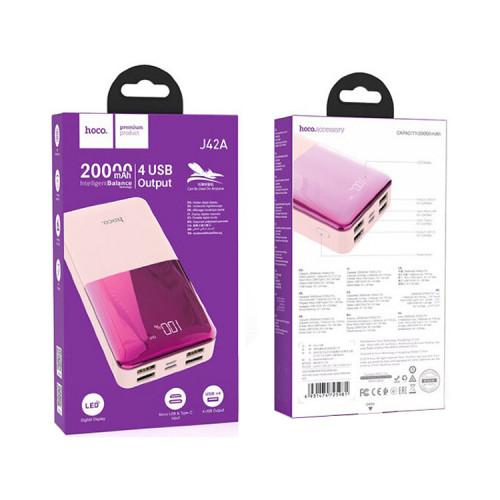 Внешний аккумулятор J42A 20000mAh розовый HOCO