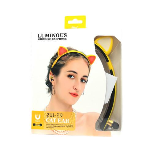 Блютуз наушники ZW-29 Cat Ear желто-черный LUMINOUS