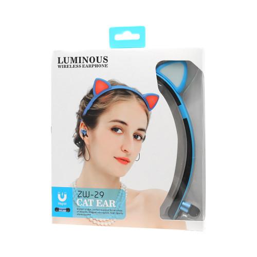 Блютуз наушники ZW-29 Cat Ear сине-черный LUMINOUS