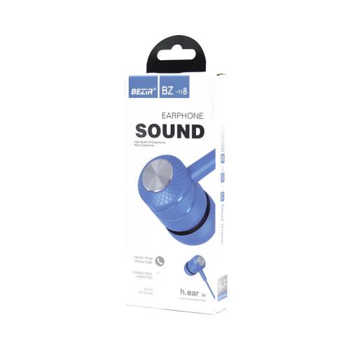 Наушники с микрофоном BZ-118 голубой BEZIR