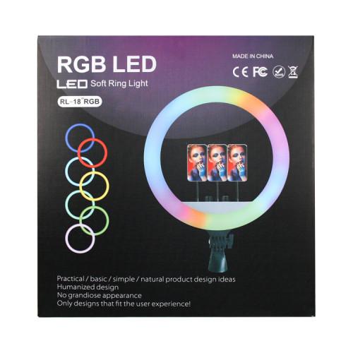 Кольцевая лампа RL-18 (45см) RGB LED с держателями + пульт ДУ