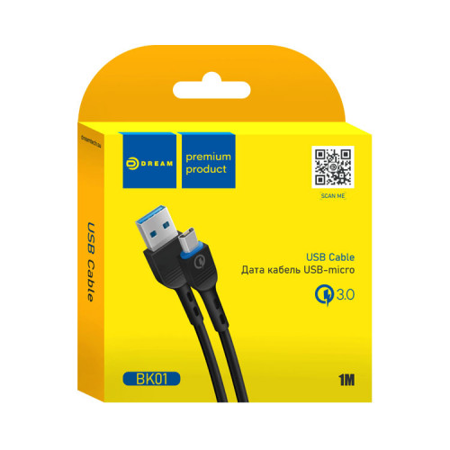 Кабель Micro USB BK01 QC3.0 2.4A 1M черный DREAM
