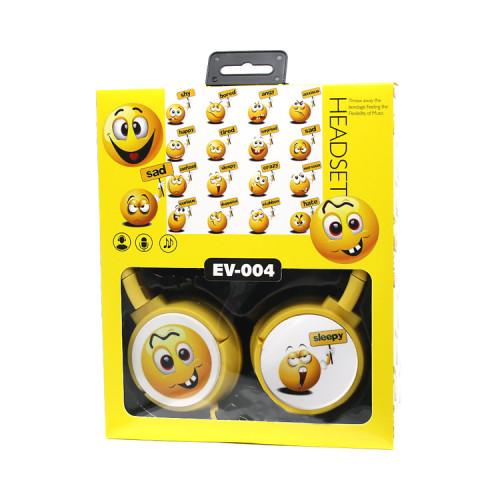 Полноразмерные наушники EV-004 (смайлик) желтый