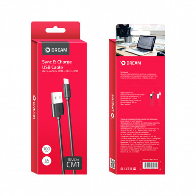 Кабель Micro USB CM1 1М черный DREAM