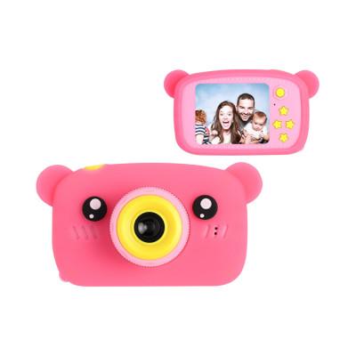 Детский фотоаппарат + чехол мишка KC600 розовый