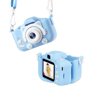 Детский фотоаппарат с фронт. камерой KC650 (котик) голубой