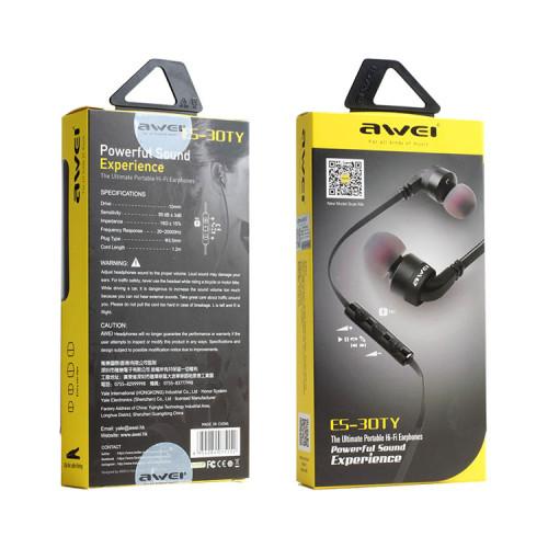 Наушники с микрофоном ES-30TY черный AWEI