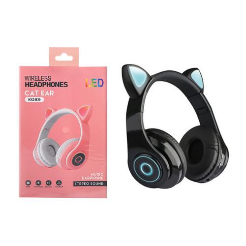 Полноразмерные наушники BT Cat Ear B39 черный с подсветкой