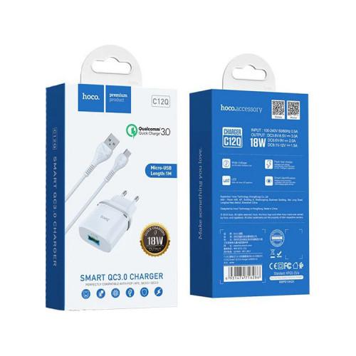 СЗУ 1USB C12Q QC3.0 + кабель Micro USB белый HOCO