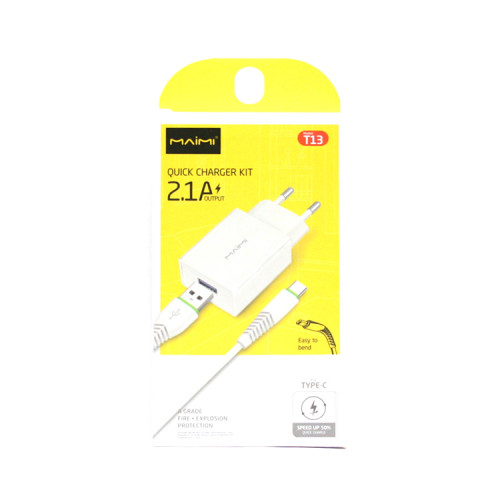 СЗУ USB + кабель Type-C T13 белый Maimi