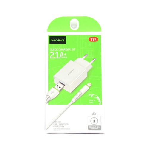 СЗУ USB + кабель Lightning T13 белый Maimi