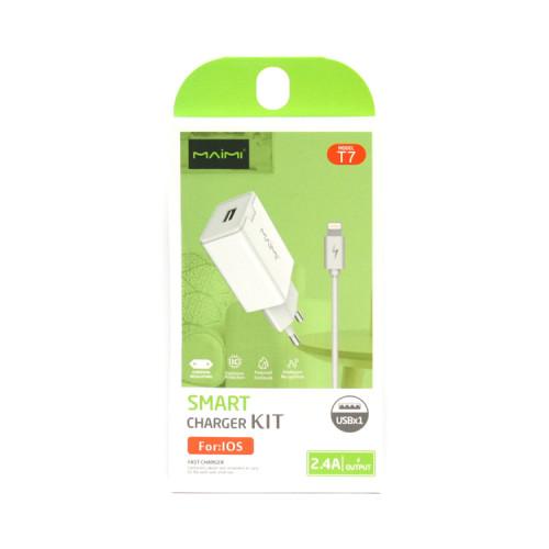 СЗУ USB + кабель Lightning T7 белый Maimi