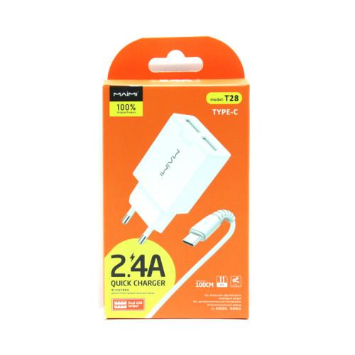 СЗУ 2USB + кабель Type-C T28 белый Maimi