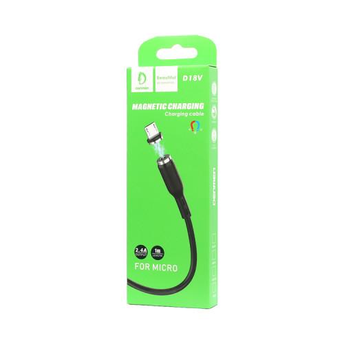 Кабель Micro USB магнитный D18V черный DENMEN