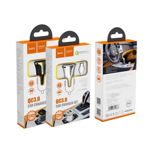 АЗУ 2USB Z31 18W QC3.0 + кабель Type-C черный HOCO