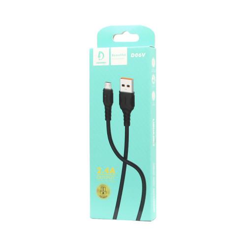 Кабель Micro USB D06V 2.4A черный DENMEN
