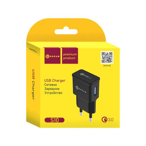 СЗУ USB S10 2.4A QC3.0 черный DREAM