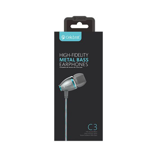 Наушники с микрофоном C3 серо-синий CELEBRAT